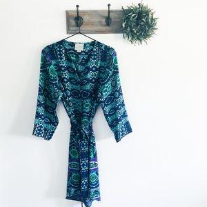 Anthro Maeve Blue Ikat Belted Shirt Dress L